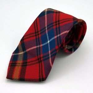Vintage Scottish Wool Red Tartan Plaid Tie Necktie